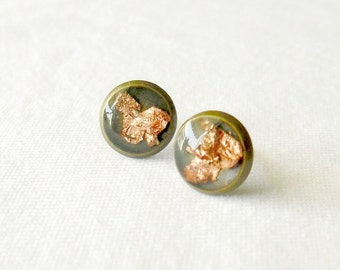 Rose gold flake earrings- Unique post earrings- Modern minimal everyday jewelry