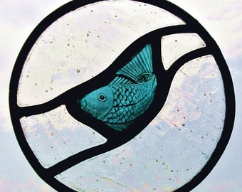 Stained glass fish window hanger