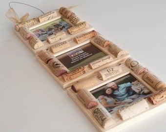 Wine Cork Frame, Cork Frame, Wine Cork Crafts, Three Tier Set Of Frames, Engagement Gift, Wine Gift Ideas