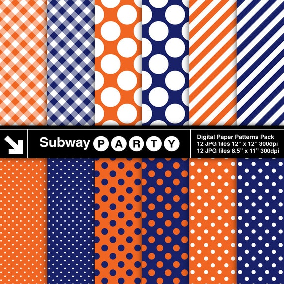Navy blue and orange digital papers pack in polka dots for Dots and stripes party theme