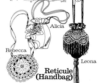Ladies' 1800s Victorian Reticule Handbag in 3 Styles - Buckaroo Bobbins Sewing Pattern