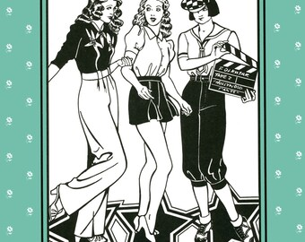 Folkwear Hollywood Pants -  Knickers, Trousers & Shorts Sewing Pattern #250 Sizes 8-14