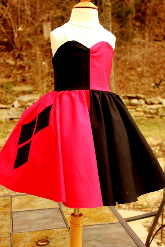 Items similar to harley quinn dress on etsy for Harley quinn wedding dress
