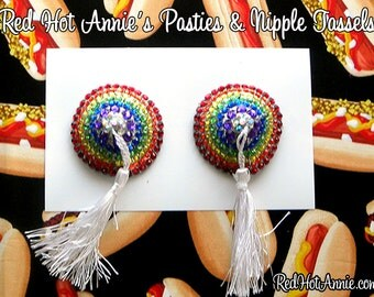 Burlesque Rhinestone Pasties w/Tassel (Rainbow) LGBTQ