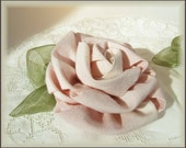Handmade Lush Muslin Rose Wedding Decor, Large Fabric Rose for Wedding Sash, Ring Bearer Pillow, Coursage, Curtain Tie Back, Natural or Pink