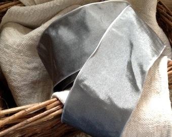 grey pewter silver taffeta french wired ribbon