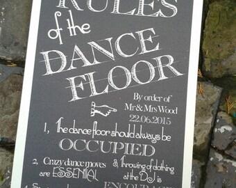 Personalised  vintage chalkboard style Dance Floor Rues sign for weddings or parties