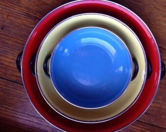 Vintage Mid Century Enamel Pan Set Primary Colors Cookware