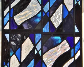 Stained Glass Panel Abstract Winter Blues Black Geometric Design Clear Textured Glass Window Wall Hanging