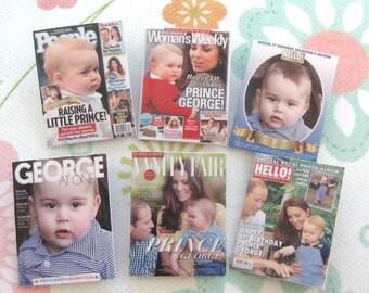 dollhouse english  royal prince george 1st  birthday magazines x 6  miniature 12th scale rainbowminiatures