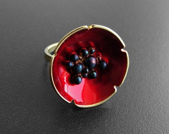 Unique ring, poppy ring, red ring, unusual ring, round ring, sterling silver ring, birthday gift for women, wife,statement ring, enamel ring