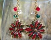 Poinsetta Flower Earrings with Crystals - Christmas - Winter, hand made