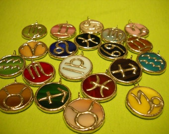 Stained Glass Zodiac Pendant