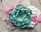 Mint Gray and Pink Headband, Over the Top Hair Accessory, Kids Accessory, Summer Headband, Baby Girl Photo Prop, Birthday Girl, Hair Piece