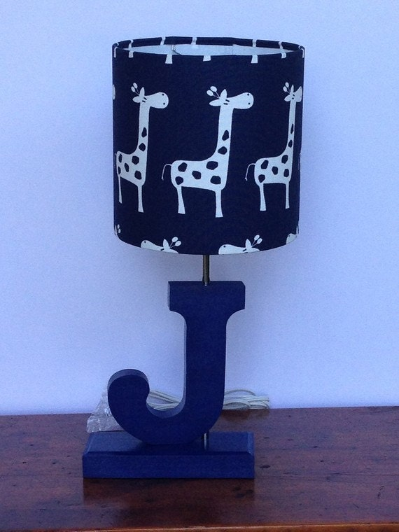 small giraffe drum lamp shade navy with white by. Black Bedroom Furniture Sets. Home Design Ideas