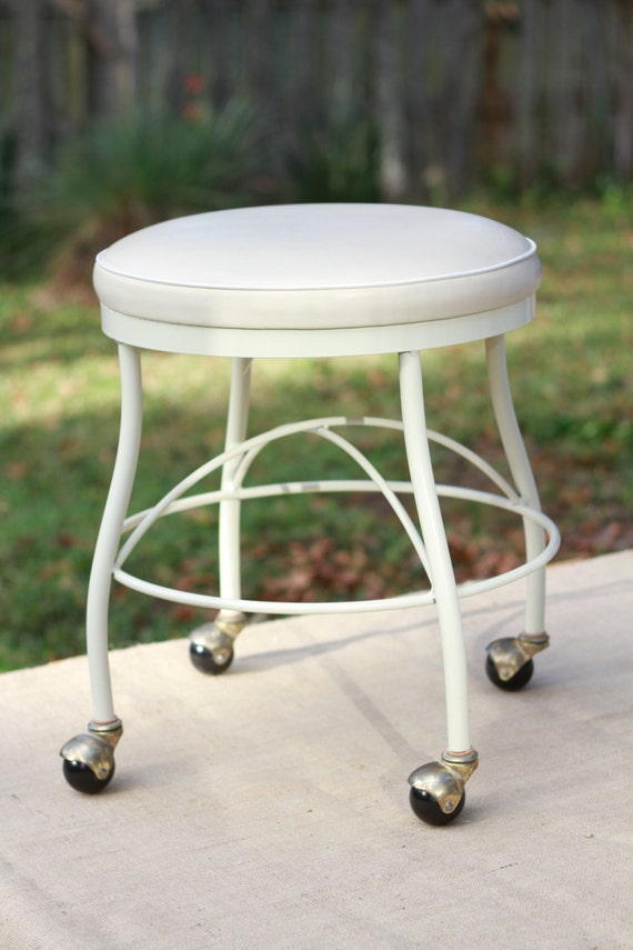 Vinyl vanity stool with rollng casters - Vanity stool with wheels ...
