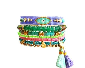 Beadwork Friendship Bracelet,Evil Eye,Swarovski,Beaded,Neon,statement,Silk Tassel Charm,Tribal Jewelry,Gemstone,Bohemian Multiple OOAK gift