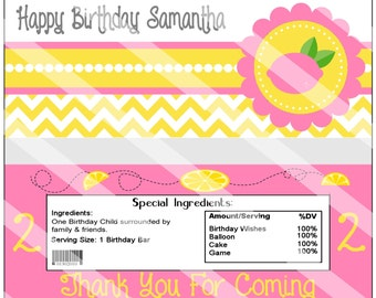 Adorable Pink Lemonade Birthday Party Candy Wrapper Custom Printable Party Favor