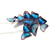 Blue Morpho Swarm Statement Necklace, Realistic Lightweight Butterfly Swarm Collar in Silver Tone