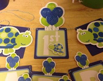 Blue and Green Turtle Banner