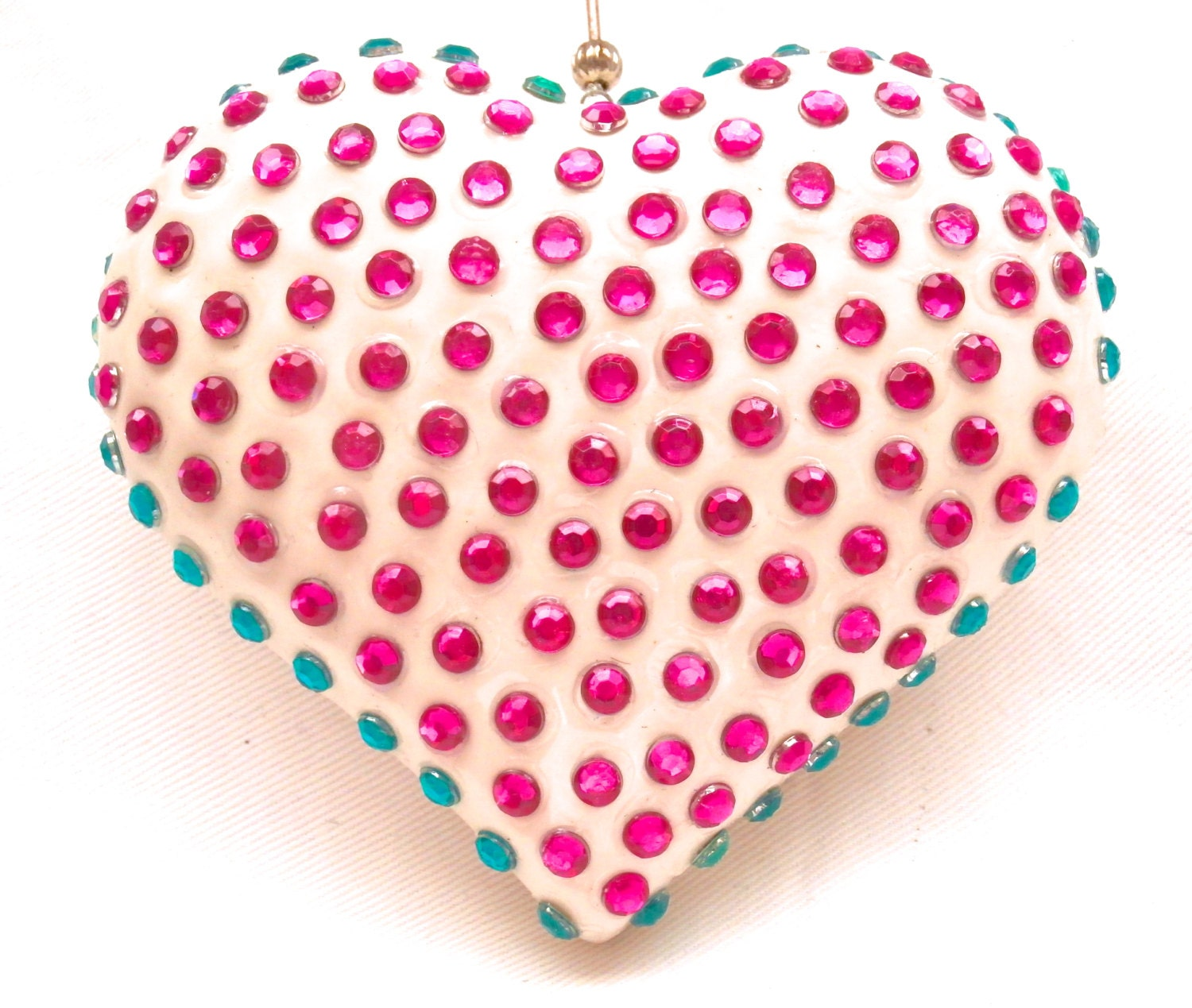 Hanging Heart Home Decor Pink And Green Mosaic Ceramic