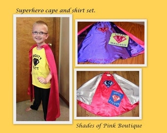 Boy or Girl superhero cape size 3-10 with personalized inital design