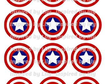 INSTANT DOWNLOAD Captain America cupcake toppers, Captain America party, Captain America theme birthday