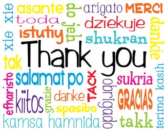 Multilingual Thank You Cards (set of 10 cards & envelopes)
