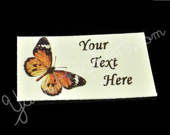 "Monarch Butterfly - ""Iron On"" or ""Sew In"" - Cotton Fabric Labels (White) - For Crochet, Knit, Sew and Quilt Heirlooms"