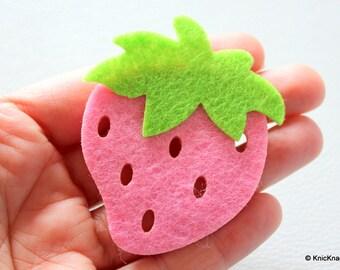 2 x Pink Strawberry Huge Felt Applique Patch