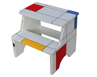 mondrian painted step stool step stool chair step stool for kids step - Childrens Step Stool