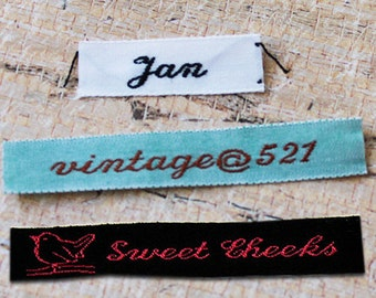 Custom Woven Clothing Labels, Sewing Labels, Labels for Knitting, Crochet Labels, 1 Line of Text , Custom clothing Labels, Style F1