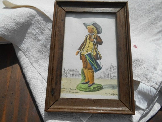 Le Tambourinaire Drummer Vintage 50's  French Provence Santon Watercolor Pastoral Print Wood Frame French Scriptures 1800's Costume Musician
