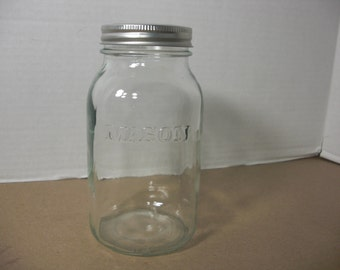 Vintage Mason Jar w/ Flower Frog Lid, Up-Cycled Mason Jar, Flower Arrangement Jars and Lids, Wedding Mason Jar w/ Flower Lid