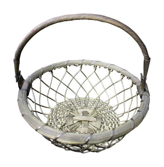 Antique Woven Egg Basket : Vintage brass woven basket with handle easter