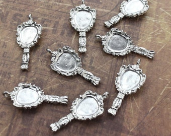 10 Mirror Charms Mirror Pendants Antiqued Silver Tone Double Sided  3D 13 x 27mm