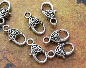 5 Small Heart Lobster Clasp antique silver tone 8 x 18 mm