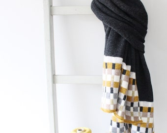 Bamboo Charcoal Lambswool Knitted Large Wrap