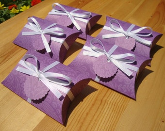 Pillow Boxes - Purple Paisley - Set of 10 - Party Favors - Treat Boxes - Gift Boxes