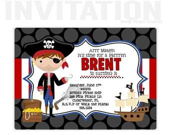 Pirate Boy Birthday Party Invitations, personalized thank you cards, birthday invitations, party invitations / No.288