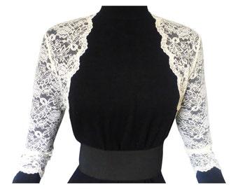 Ladies Ivory or white Lace Bolero/Shrug 3/4 Sleeve in Sizes UK 8,10,12,16 or 18