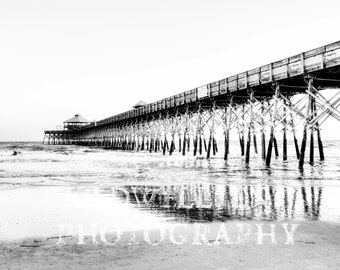 Black and White Charleston Photography The Pier at Folly Beach South Carolina Fine Art Photo Nautical Print Southern SC Lake House Decor