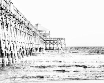 Black and White Charleston Photography Folly Beach Pier South Carolina Fine Art Photo Nautical Print Southern Art SC Lake House Landscape