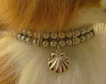 Dog/Cat Collar Necklace Silver Pearl & Rhinestone, Pet Collar Necklace, Pet Pearls, Pearl Pet Collar, Bling Dog Collar, Bling Cat Collar