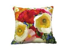 Decorative Velvet throw pillowcase poppy pillow cushion cover poppy design on both sides