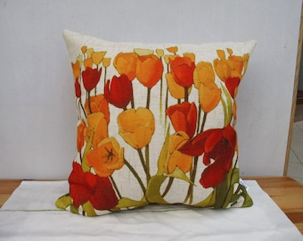 Decorative Floral Poppy Pillow Cushion Cover Poppy Printed Double Sides Floral Cushion Linen Pillow Dancing Poppy