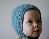 BUMPY BONNET, Sky Blue, Handmade, Vintage Inspired Woollen Knitted Hat
