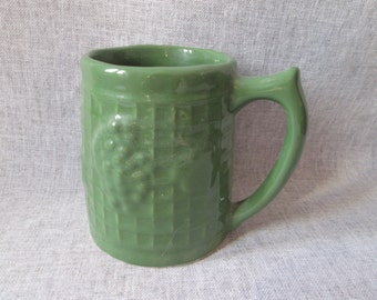 Grapes & Lattice/Trellis Pottery Mug - Uhl Style - Dark Green