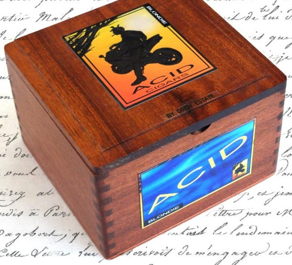 Acid cigar box wood humidor craft supply storage jewelry for Cigar boxes for crafts