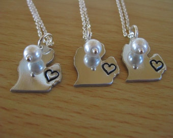 Michigan Mitten~Bridesmaids Necklaces~Set of 3